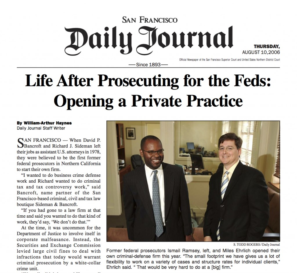 Daily Journal on Life After Prosecuting for the Feds