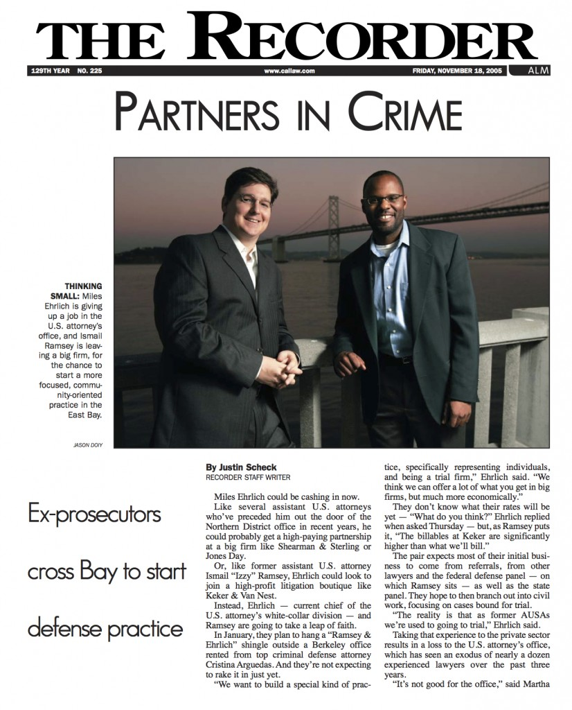 Recorder Article - Partners in Crime